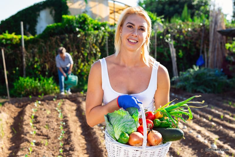 woman with organic vegetables