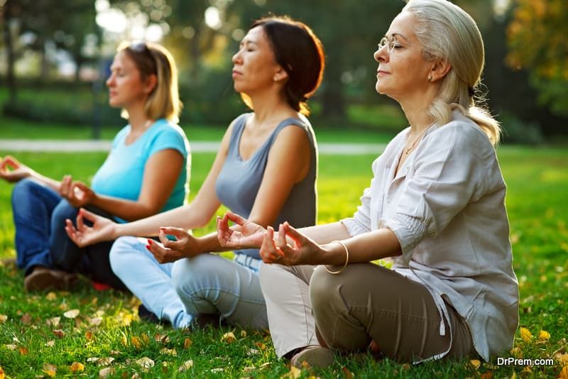 people pracitising Deep breathing exercises