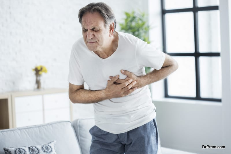 Old man with heart attack