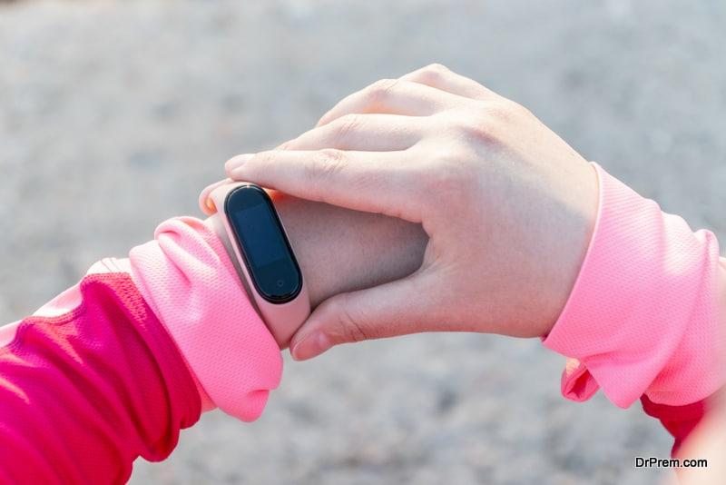 wearing fitness tracker