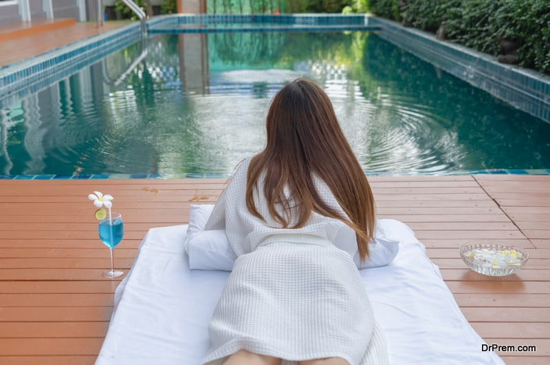 woman relaxing at wellness resort