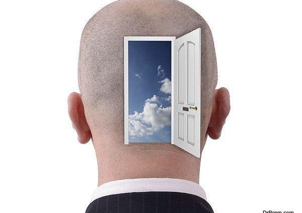 Head with open doorway to reveal inside