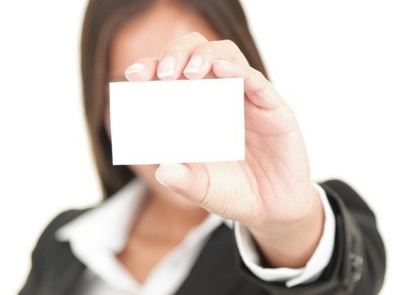 businessperson showing business card