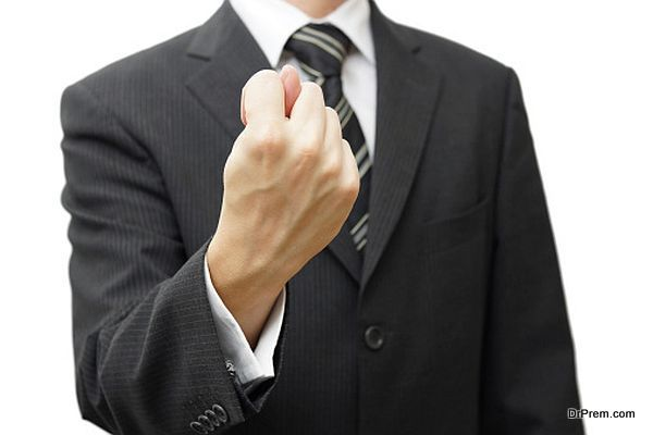 businessman hand showing a fig sign