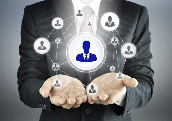 Hands carrying businessman icon network - HR,HRM,MLM, teamwork &